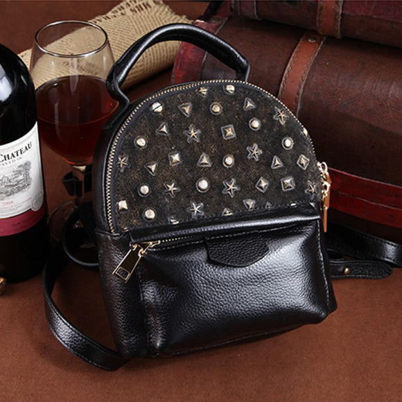 Mini Backpack for Women in High Quality Genuine cowhide Leather rivet decorated - zavitoro