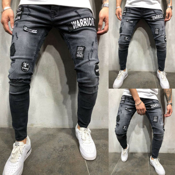 Hot sale autumn winter Mens Mid High Waist Stretch Fashion Slim Fit Ripped Skinny Stretch Biker Zip Jeans Pencil Pant Trousers - zavitoro
