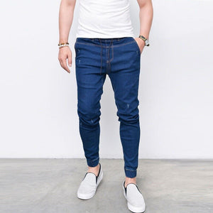 Men's Frayed Skinny Jeans Elastic Waist Solid Color Pencil Pants Casual Street Moto&Biker Party Denim Pants Clothing Men - zavitoro