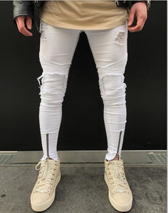 Neverfunction Famous Brand Designer Skinny Ripped Jeans Men Hip Hop Mens White Denim Joggers Knee Holes Washed Destroyed Jeans - zavitoro