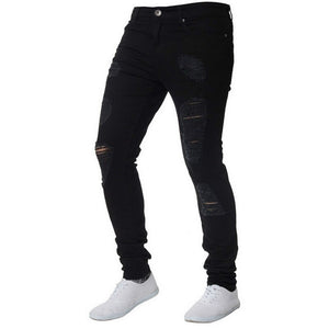 Oeak Mens Solid Color  Jeans 2019 New Fashion Slim  Pencil Pants Sexy Casual Hole Ripped Design Streetwear - zavitoro