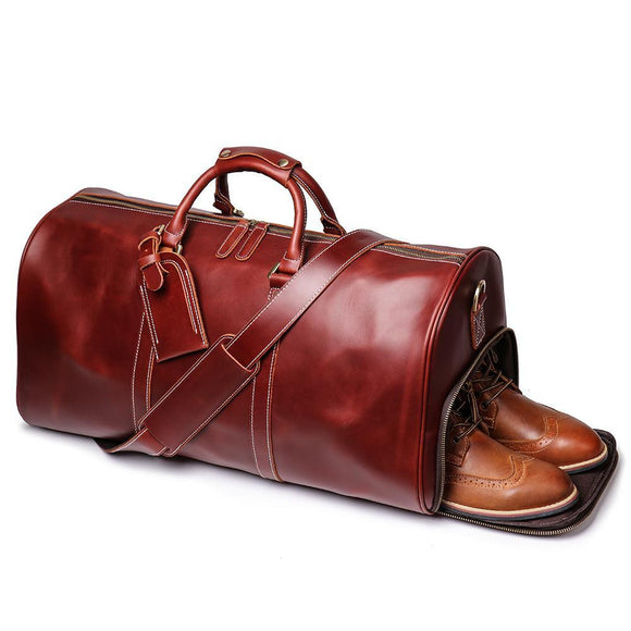 Zavi's Oil wax premium quality Duffle bag CHERRY BROWN - zavitoro