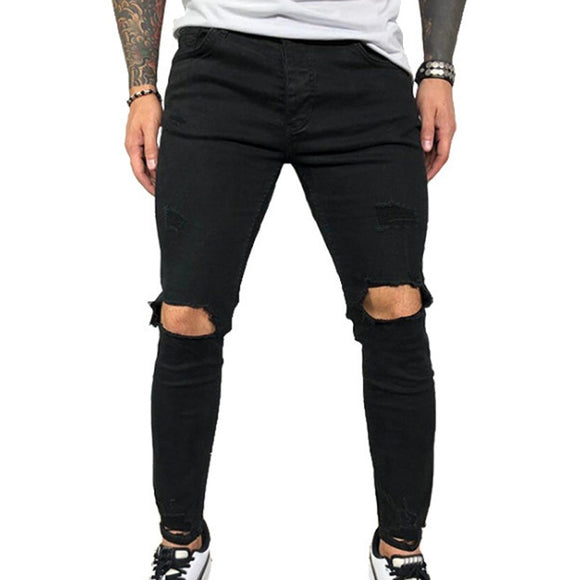 VICABO Mens Jeans Fashion Summer Sexy Hole Pencil Pants Jeans for Men Black Blue Men Clothing ropa de hombre 2020 Streetwear #w - zavitoro