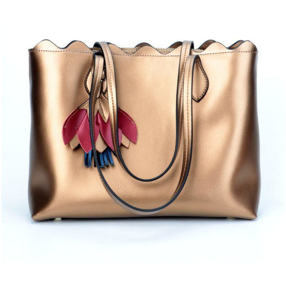 Tote bag designer fashion women Girls in high quality genuine leather flower style - zavitoro.myshopify.com