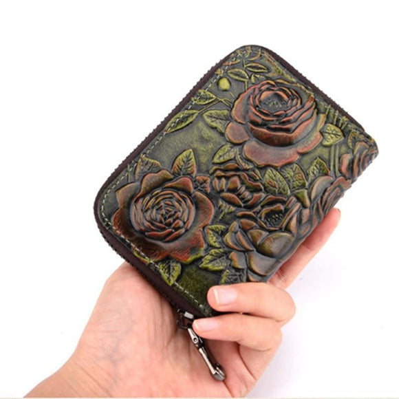 Bifold Short Wallet Clutch Money Bag Rose Embossed for Women in High quality Genuine Leather Zipper - zavitoro