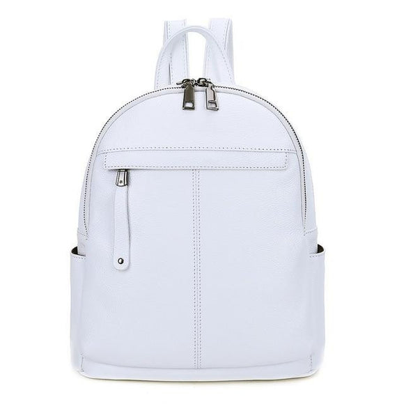 Backpack in first layer genuine real high quality leather in color White for busy women - zavitoro.myshopify.com