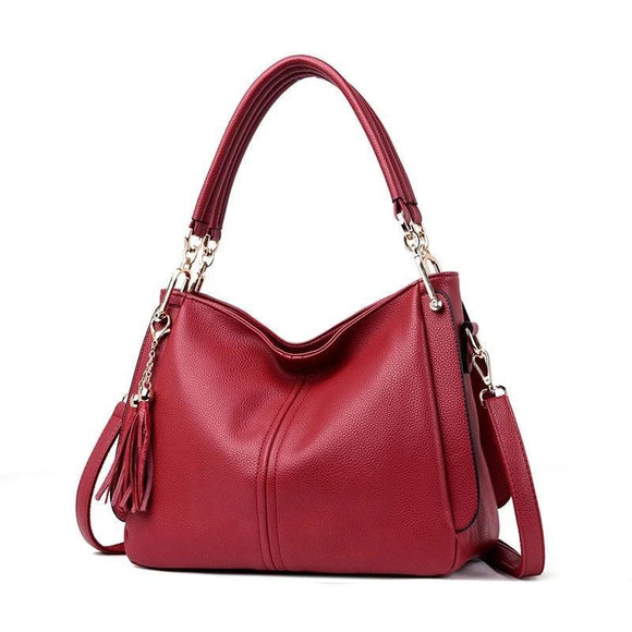 Premium quality cowhide genuine leather Hobo bag mini tote handbag New Designer Hangbags Women Shoulder Bags Ladies Solid Bags Female Large Tassel Tote Women Casual Crossbody Bag - zavitoro