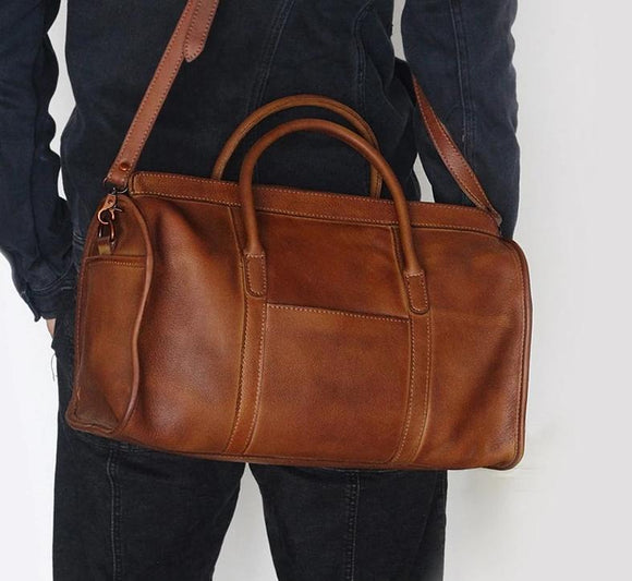 Brown oil pullup Duffle bag vintage handmade genuine leather travel bag simple cowhide leather handbag luggage bag shoulder crossbody bags duffle bag - zavitoro.myshopify.com