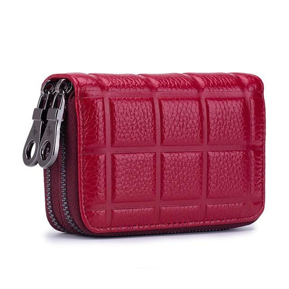 Short wallet RFID hand purse premium quality wrist bag for women Genuine Leather Credit Card Holder for Women Female Double Zipper Leather Cardholder Wallet Men Card Purse with Coin Pocket RFID - zavitoro