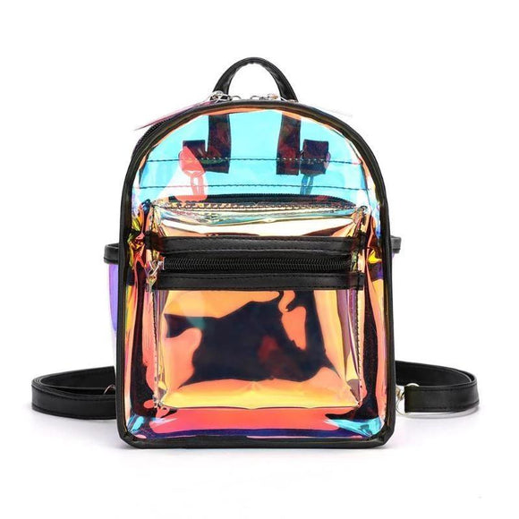 Electric design Clear See through PVC Mini Backpack Women Teenager School Book Bag Laser Jelly Transparent Mini Travel Bags - zavitoro
