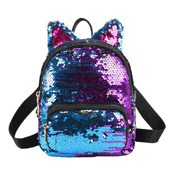 Backpack Cute Sequins Backpack for Girls cat ears designed School Fashion Lady Travel Satchel Girls Student Panelled Zipper Backpack - zavitoro