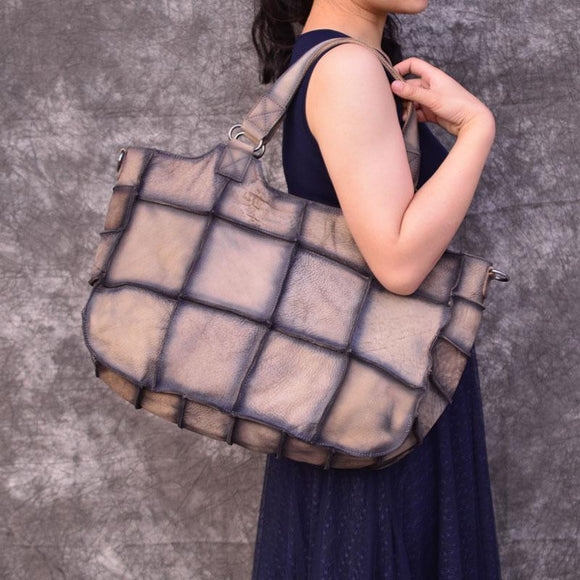 Tote bag Khaki checks first layer genuine leather handmade patchwork designer bag female women atmosphere shoulder messenger bag large plaid handbag - zavitoro