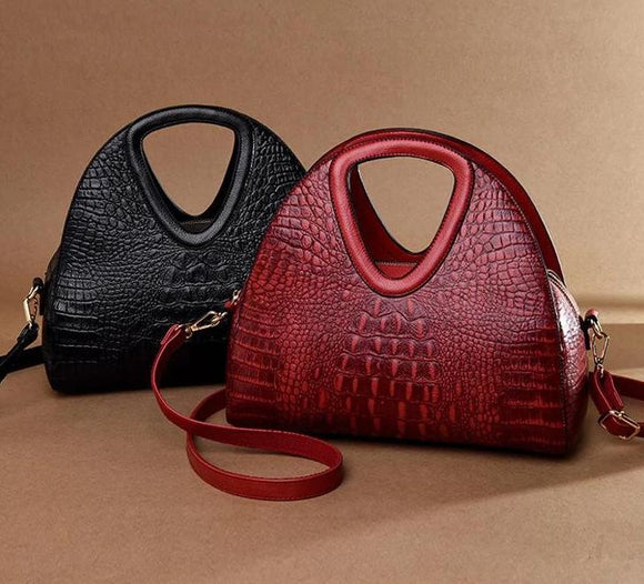 Satchel Handbag Genuine Leather Alligator Women Crocodile pattern Luxury Half Moon Shoulder Bags Designer Ladies bags - zavitoro.myshopify.com