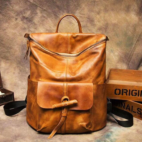 Brown Black -Women female Backpack Hand-brushed Real genuine leather Cowhide leather retro laptop shoulder bag fashion travel backpacks - zavitoro.myshopify.com