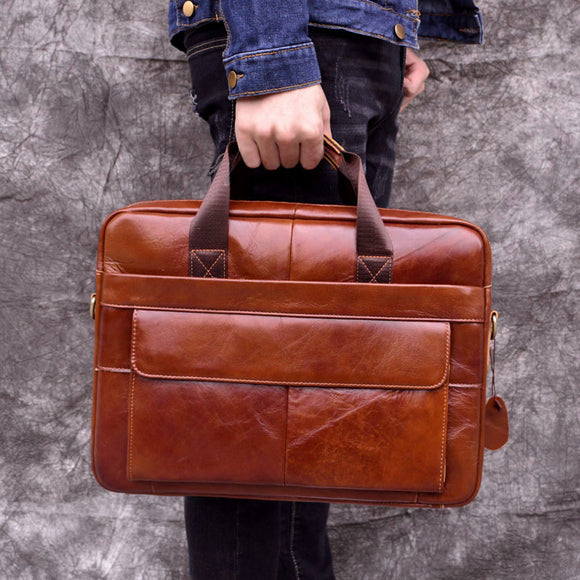 Briefcase Laptop bag Business handbag Genuine Leather Cowhide Men Crossbody Bag Men's Travel brown leather Offcie Men Women - zavitoro