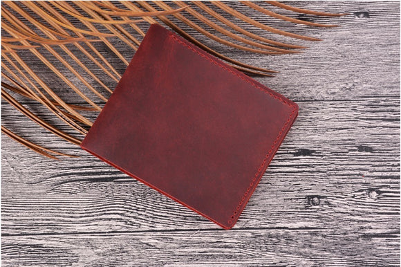 Men's Crazy Horse Leather Bifold wallet bag in multiple color shaded design 100% Genuine Leather men Wallets  carteira masculina Retro Clutch Coin Purse wallets - zavitoro.myshopify.com