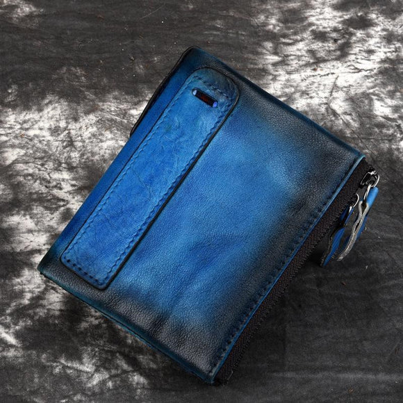 Wallet zipper faded color design high quality real cowhide genuine leather men purse money bag Cash Coin Pocket Credit Card Holder - zavitoro.myshopify.com
