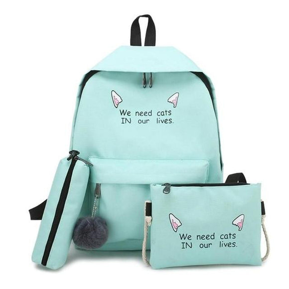 Canvas Schoolbag message printed 4/3 Pcs set Women School Backpacks for Teenagers Girls Student Book Bag Boys - zavitoro
