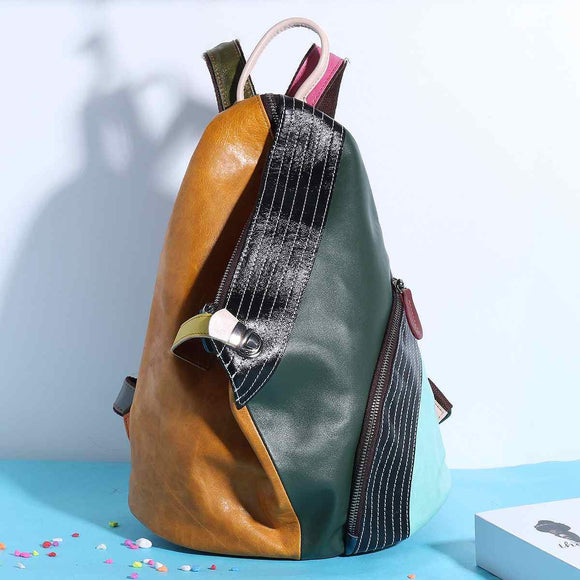 Patchwork Designer High quality Genuine Leather Backpack Women Random Color Back Pack Female Shoulder School Bag Feminine Colorful - zavitoro