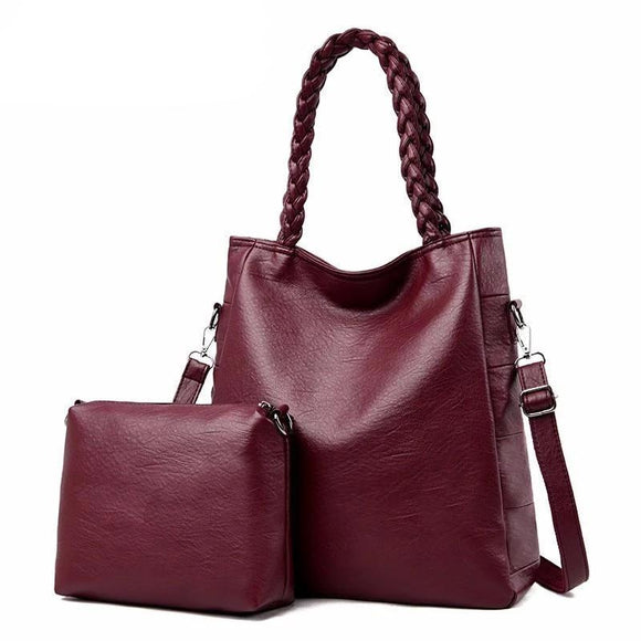 Tote bag with wrist hand bag with curly stylish handles 2 Pc/sets Women Leather Handbags High Quality Female Leather Shoulder Bag Large Capacity Purses And Handbags - zavitoro