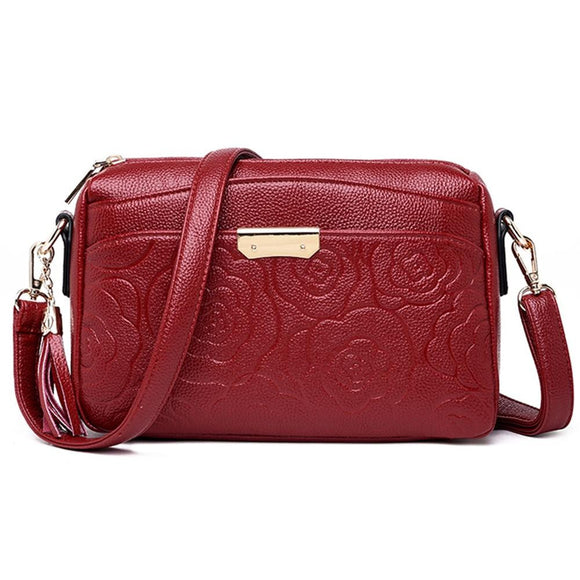 Clutch purse high quality embossed Floral design genuine leather soft flower embroidered embossed Clutch purse messenger handbag small shoulder crossbody bag for women ladies female fashion - zavitoro