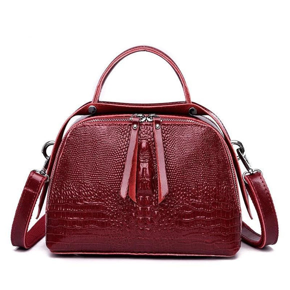 Crocodile pattern Satchel handbag high quality strong and smooth cowhide leather Crossbody shoulder bag - zavitoro