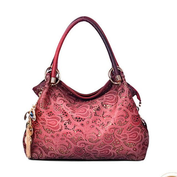 Hobo bag tote handbag new fashion Single Genuine leather Shoulder Bag Women Ladies Carved Cross-body Bag Female - zavitoro