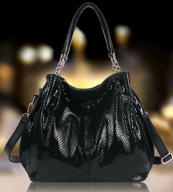 Snake Pattern Hobo bag tote Genuine Leather High Quality cowhide Women's Bag Korean Version Commuter Bag Single Shoulder Straddle Bag Girls - zavitoro