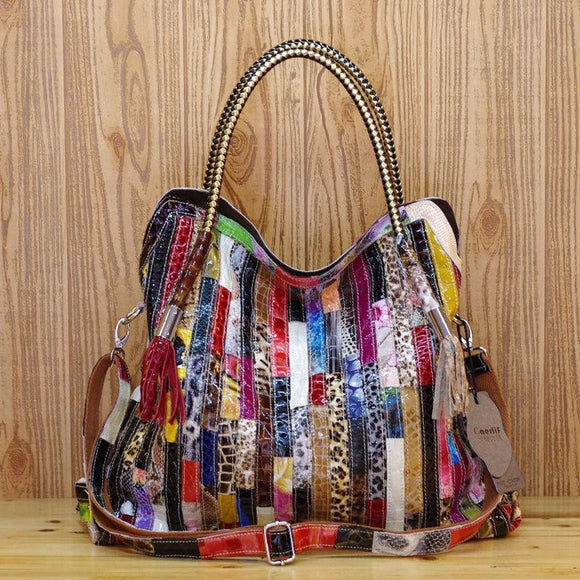 Colorful patchwork Hobo bag Fashion durable strong Genuine Leather Cowhide Snake Pattern Multi-color Large Capacity Shoulder Spanning Characteristic Tote Bag - zavitoro