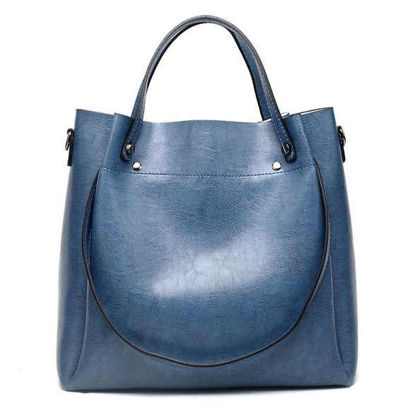 Tote bag shoulder handbag Large Capacity Oil Wax Cowhide genuine leather Bags Ladies Shoulder Messenger Bags New - zavitoro