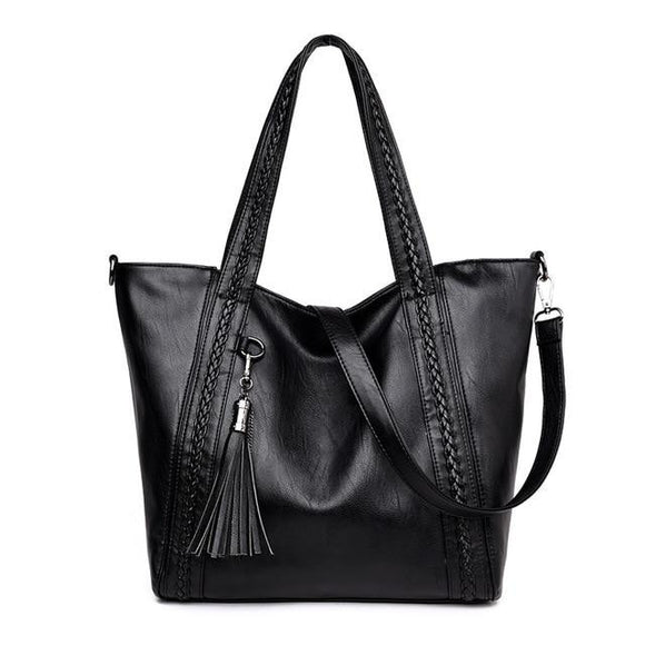Tote bag Women Weaving Leather Handbag Large Capacity Tassel Designer High Quality Women Shoulder Bag Female Crossbody Messenger Bag - zavitoro