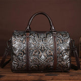 Satchel handbag Art and Craft High Quality Embossed Hand-polished Pillow shaped Genuine Leather Retro Top Layer Leather cowhide Portable Lady Bags Single Shoulder Bag - zavitoro