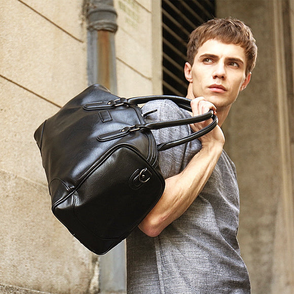Duffle bag travle outing for Men leather hand-held Korean version of multi-functional large-capacity horizontal luggage  men's bag - zavitoro.myshopify.com