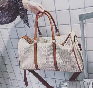 Duffle knitted woven plaid bag large capacity genuine leather west woven large travel bag knitted leather handbag luggage bags commercial travel duffle handmade luxury - zavitoro.myshopify.com
