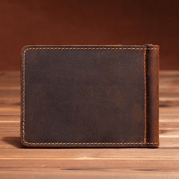 Wallet for Men Portable Ultra-Thin Simple Money Clip Leather Bifold Mini Wallet - zavitoro.myshopify.com