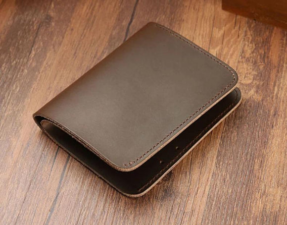 Short wallet men and women handmade Oil finish Hot leather retro simple change card position certificate portable thin section - zavitoro