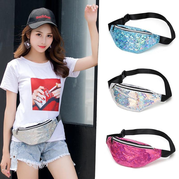 Women's Waist Pack  Banana Waist Bag Fanny Pack Laser Belt Waterproof Shoulder Phone Chest Bag Pink Silver - zavitoro.myshopify.com