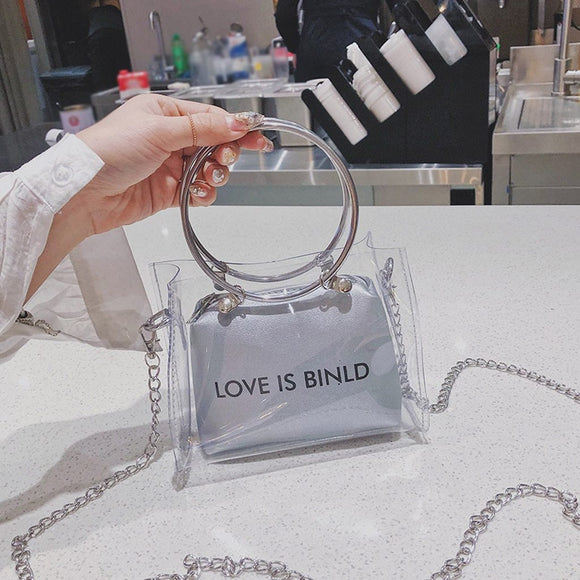 Transparent andbag women Square Shoulder Messenger Hand Wallet woman bag - zavitoro.myshopify.com