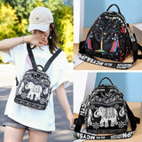 Anti-theft Embroidery ethnic style women's backpack animal print school bag detachable shoulder strap shoulder bag - zavitoro