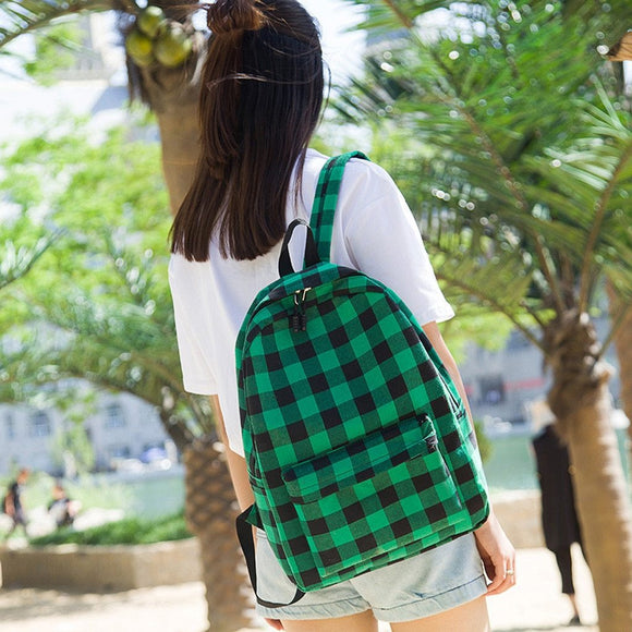 Checks design Bagpack plaid Canvas women girls Leisure Back Pack Korean Ladies Knapsack Casual Travel Bags School Girls - zavitoro