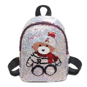Girls backpack Cute Sequins Bear Pattern bag Glitter Small School Women Casual Shoulder Bags - zavitoro