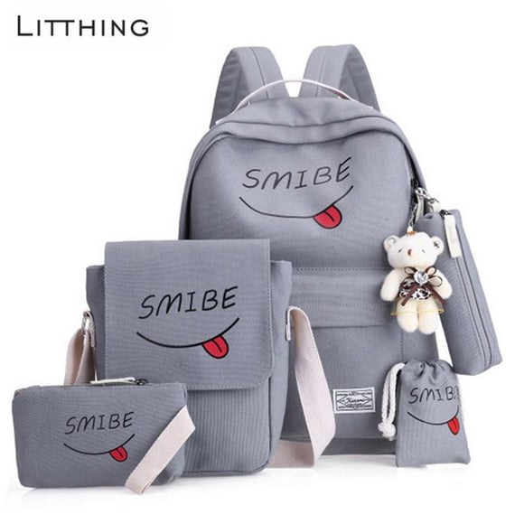 Teenage Women Backpack Canvas 5PCS/SET Smile printed School Bags Girls Women's Bag 2019 - zavitoro