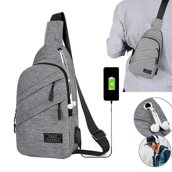 Chest Bags Fashion Sports Packs Anti-theft Waterproof  Men Outdoor Crossbody Bag with  Interface - zavitoro