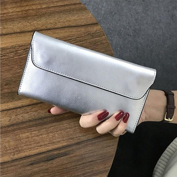 Long Wallet Genuine Leather thin lightweight Clutch Purse Card Holder Female Phone Pocket wrist bag in Luxury real cowhide with Hasp - zavitoro.myshopify.com