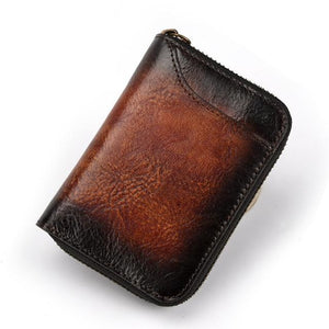 Men wallets card holder Real Cowhide High Quality Genuine Leather Bifold Zipper Coin Purse Short Wallet male Photo Credit Card Holder Clutch Zipper Mini Bag - zavitoro.myshopify.com