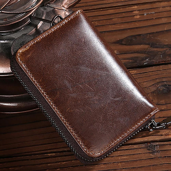 Zipper Wallet Coin Pocket Credit/ID Card Holder High Quality Zipper Bifold Genuine Leather Men Short Purse Male Retro Clutch Money Bag - zavitoro