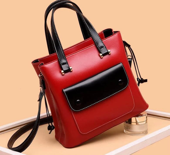 High quality cowhide genuine leather Exterior flap pocket small tote bag box shaped in  tote bag fahion women handbag female shoulder bag 2019 - zavitoro