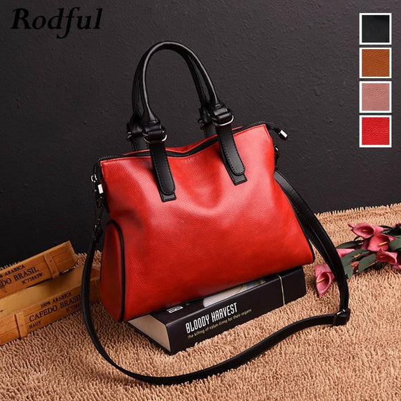 Oil pullup High quality genuine leather Business large ladies handbags women's tote bag for 2019 big soft shoulder Feminine Girls Female - zavitoro
