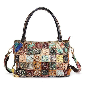 Embroidery handbag 3D Flower Patchwork in Genuine Leather Women Handbags Diamond Crossbody Messenger Bags Random Color Vintage Shoulder Bags - zavitoro.myshopify.com