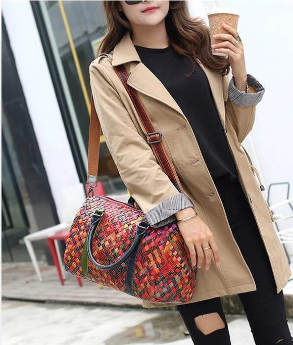Mini Tote braided design with colorful patchwork 2019 new hot knitted work bag England Style Women Genuine Leather Handbag Ladies Shoulder Bags Messenger Bags - zavitoro